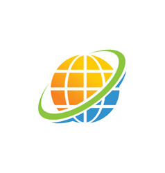 Globe planet technology logo vector