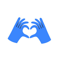 Gloved hands making heart sign vector