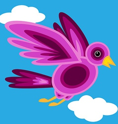 Graphic shape purple bird vector image