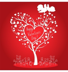 Greating card with tree and doves vector image