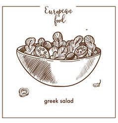 Greek salad sketch icon for european mediterranean vector