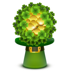 green clover leaves and gold coins ball in top vector image