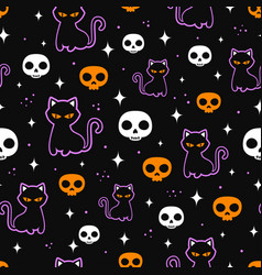 halloween seamless pattern with black cat vector image