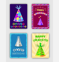 happy birthday cards set of vector image