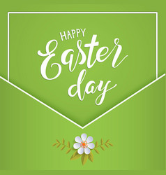 Happy easter lettering on a green vector