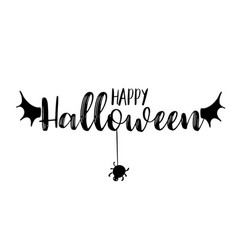 happy halloween party title logo template bat vector image