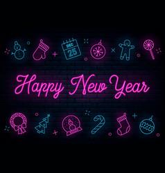 happy new year neon vector image