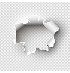 Hole torn in ripped paper on transparent vector