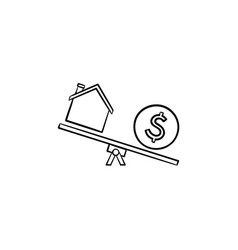 House and dollar on seesaw hand drawn outline vector