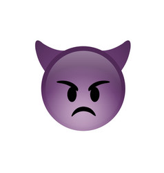 isolated purple demon devil angry face icon with vector image