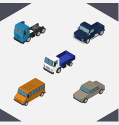 isometric car set of lorry truck suv and other vector image