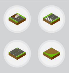 isometric road set of footpassenger repairs vector image