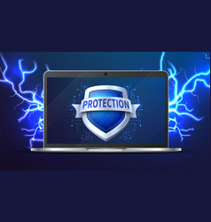 laptop with protection shield data protect vector image
