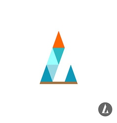 Letter L logo template Triangles style vector image