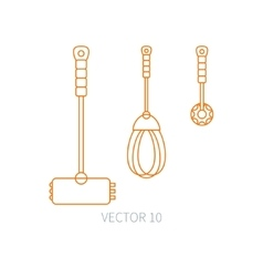 Line flat kitchenware icons - hammer vector image