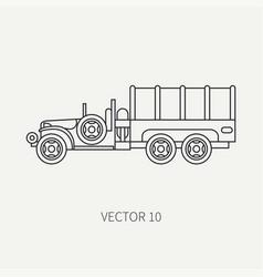 Line flat plain icon tarpaulin wagon army vector