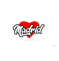 Madrid city design typography with red heart icon vector