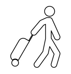 man with suitcase black color icon vector image