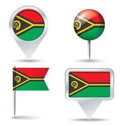 Map pins with flag of Vanuatu vector image