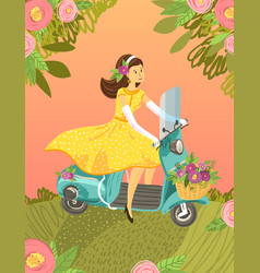 motorbike girl vintage cute cartoon vector image