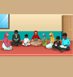 muslim african family studying quran together vector image