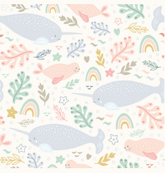 Narwhal pattern sea life seamless repeat vector