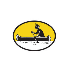 Native american indian paddling canoe woodcut vector