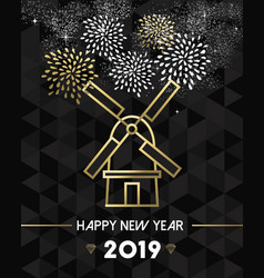 new year 2019 netherlands windmill travel gold vector image