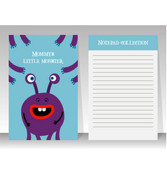 notebook template with cartoon monster vector image