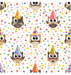 pattern with cute owls with hats and confetti vector image