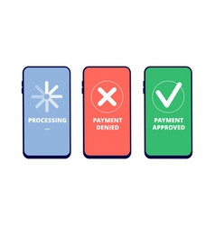 Payment transactions online approved vector