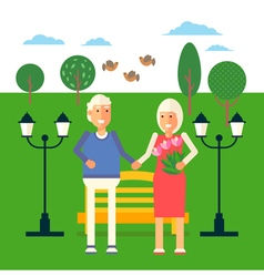 Pensioners Characters in Park vector image
