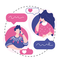 People talking phone love couple talking concept vector