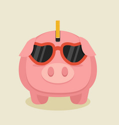 pink piggybank cartoon with glasses vector image