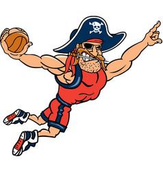 Pirate sports logo mascot basketball vector