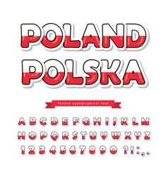 poland cartoon font polish national flag colors vector image