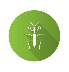 Praying mantis flat design long shadow glyph vector