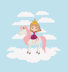 Princess with unicorn in the clouds vector
