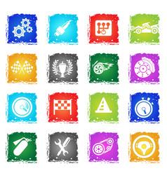 racing icon set vector image