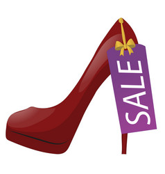 Red high-heel shoe with discount tag sale label vector