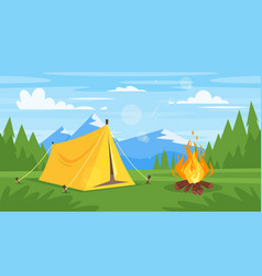 rocky mountains forest camp fire vector image
