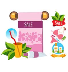 sale towel cosmetics swimwear colored for design vector image