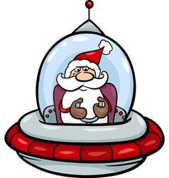 santa in spaceship cartoon vector image