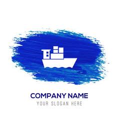 Sea ship icon - blue watercolor background vector