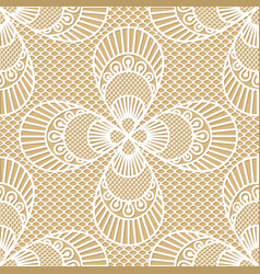 seamless decorative lace pattern on beige vector image