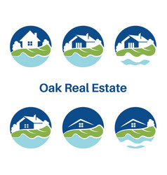 set logo template for real estate with houses vector image