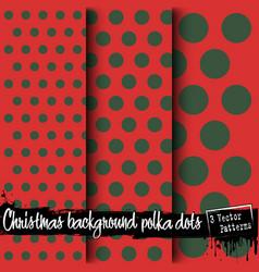 set of christmas polka dot backgrounds vector image