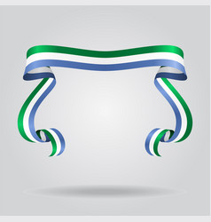 sierra leone flag wavy ribon background vector image