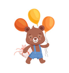 smiling bear character in playsuit carrying bunch vector image