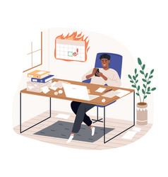 smiling freelancer black man sitting on desk vector image